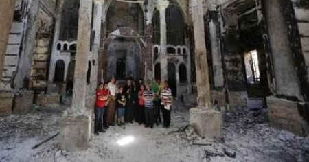 A burned out church in Egypt