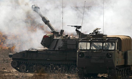 IDF artillery on exercise in the Golan Heights