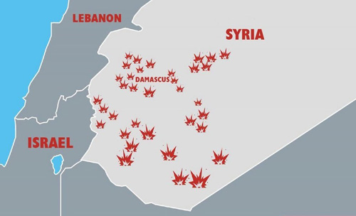 Locations of Israeli attacks in Syria