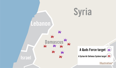 IDF map of targets in air strikes
