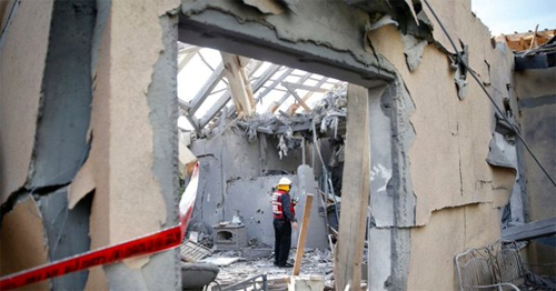 The house in Mishmeret destroyed on Monday